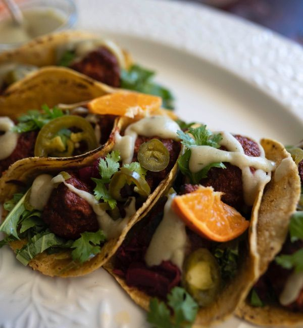 BBQ Maple Cauli Tacos with White Bean and ClemenGold<sup>®</sup> Sauce