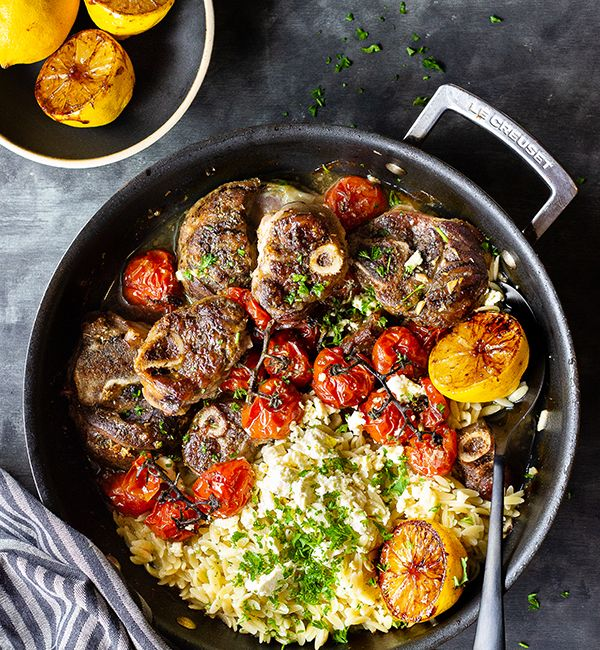 Lemony Greek Lamb With Tomatoes, Feta & Orzo